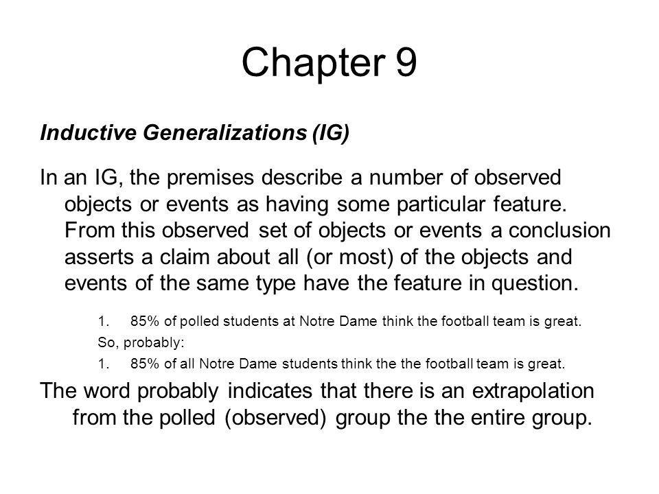 Chapter 9 Inductive Generalizations (IG)