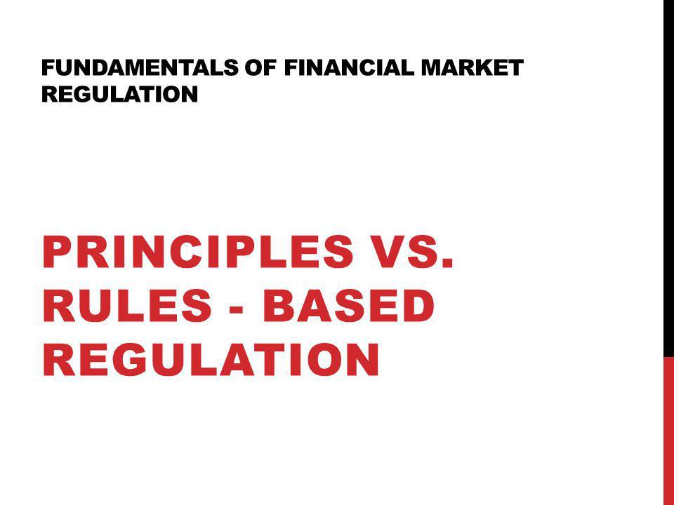 Fundamentals of financial market regulation