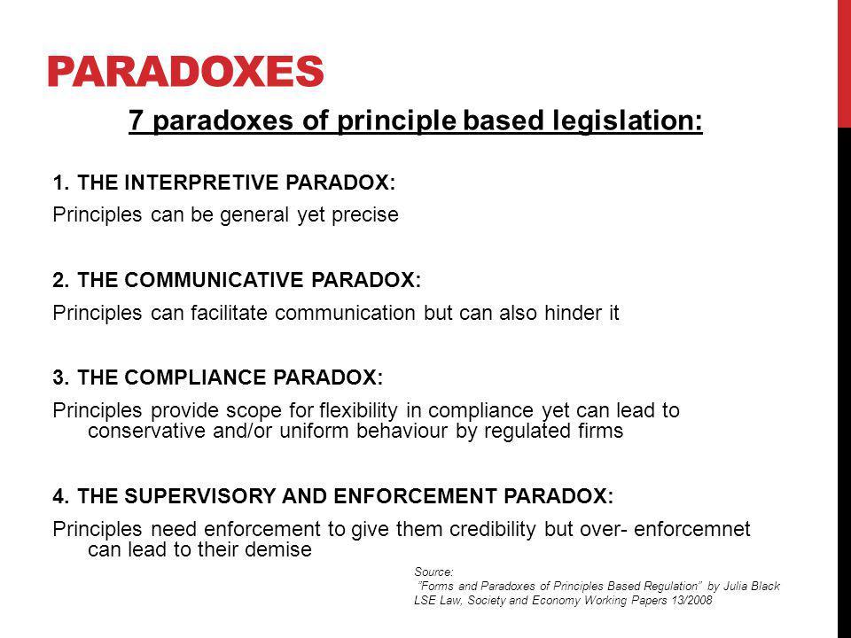 7 paradoxes of principle based legislation: