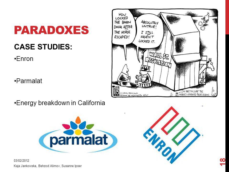 Paradoxes CASE STUDIES: 18 Enron Parmalat