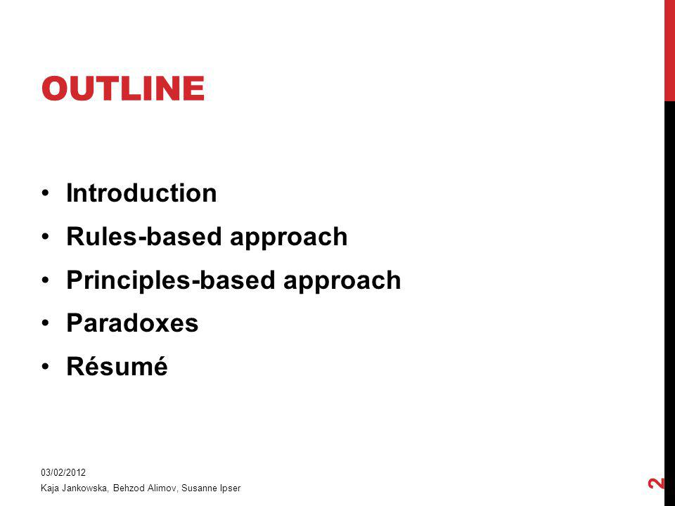 Outline Introduction Rules-based approach Principles-based approach