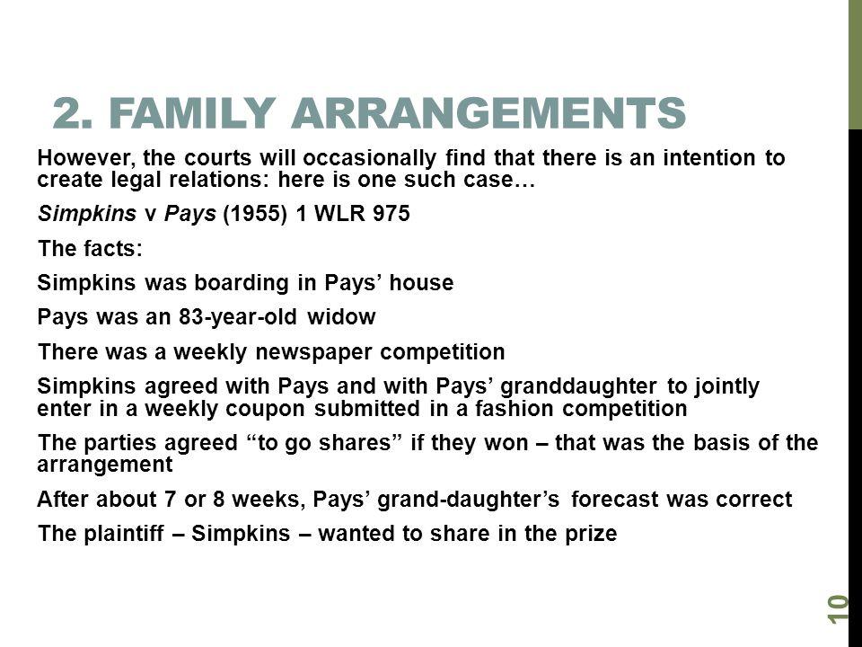 2. Family arrangements