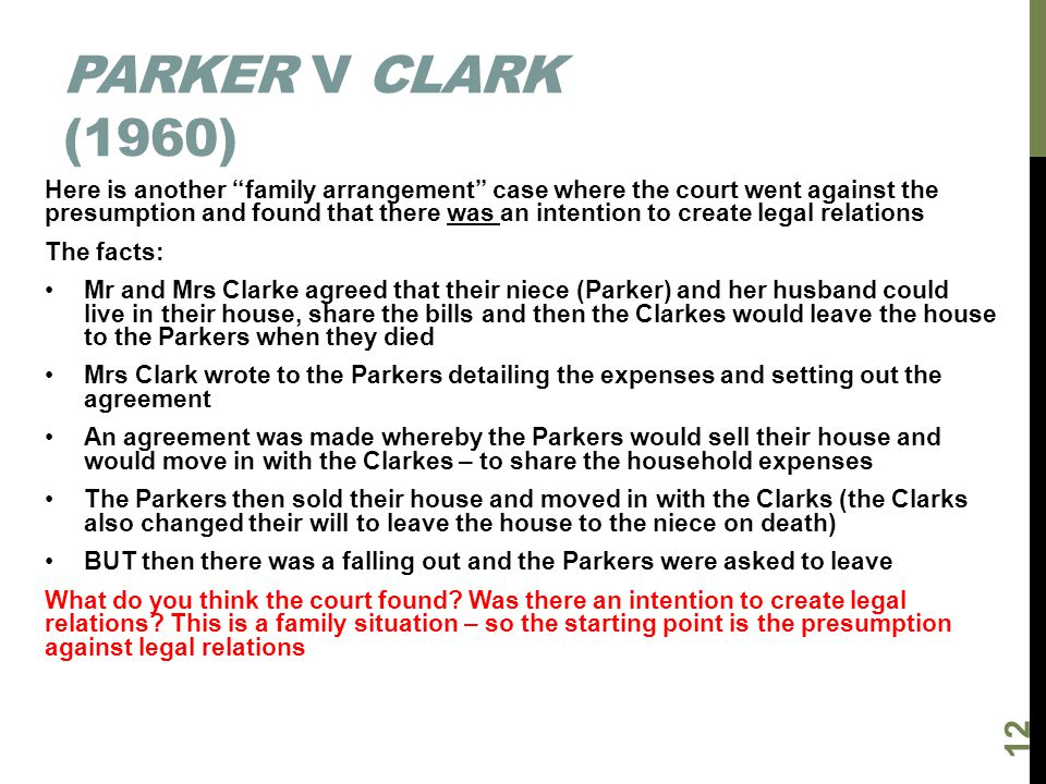 Parker v Clark (1960)
