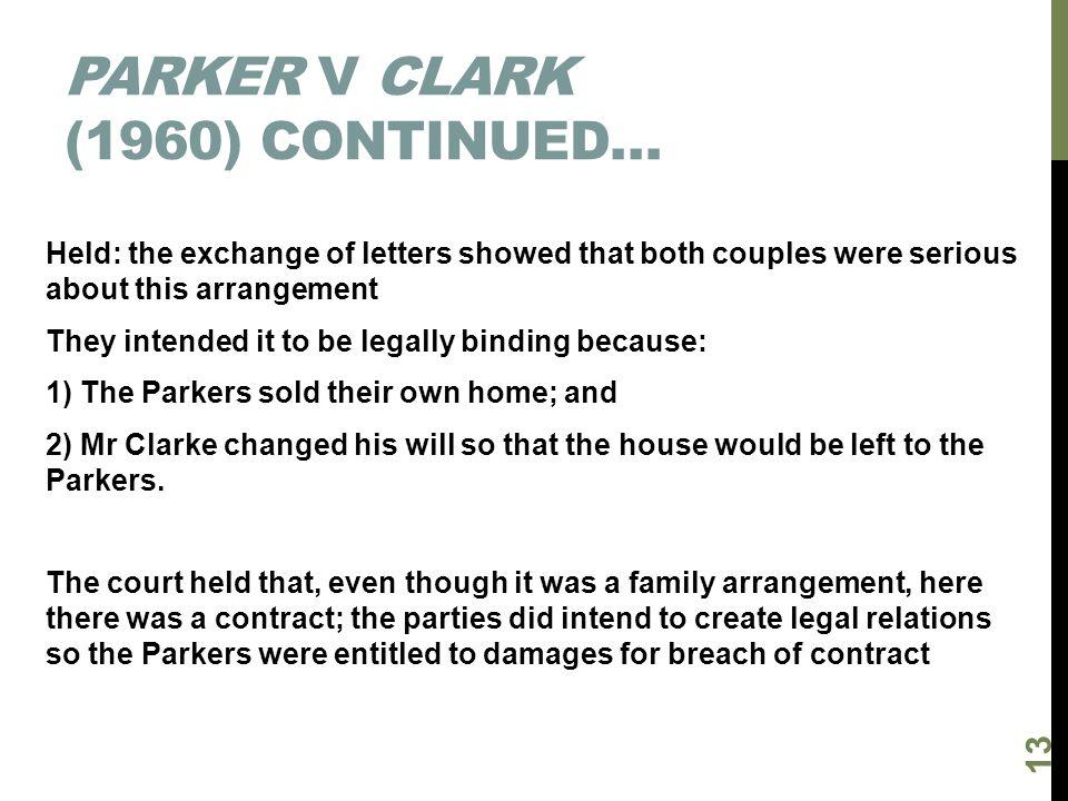 Parker v Clark (1960) continued…