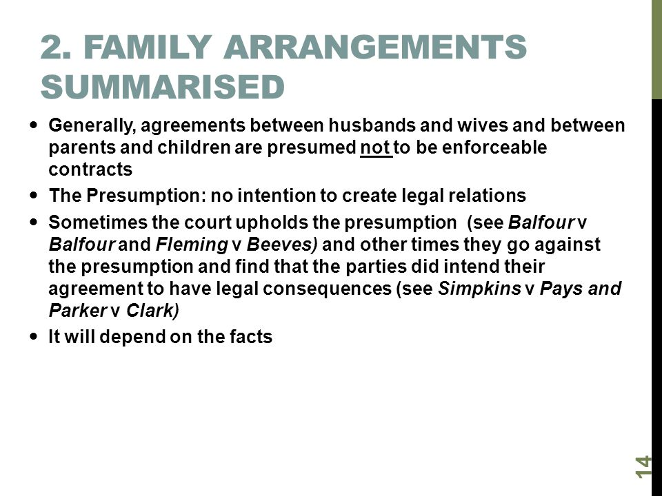 2. Family arrangements summarised