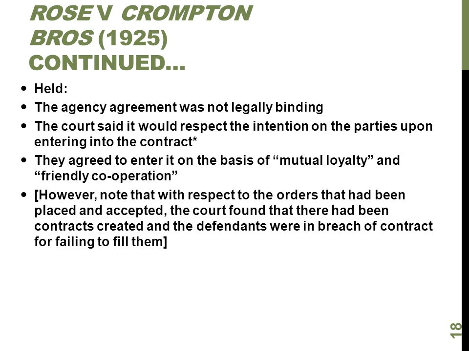 Rose v Crompton Bros (1925) continued…