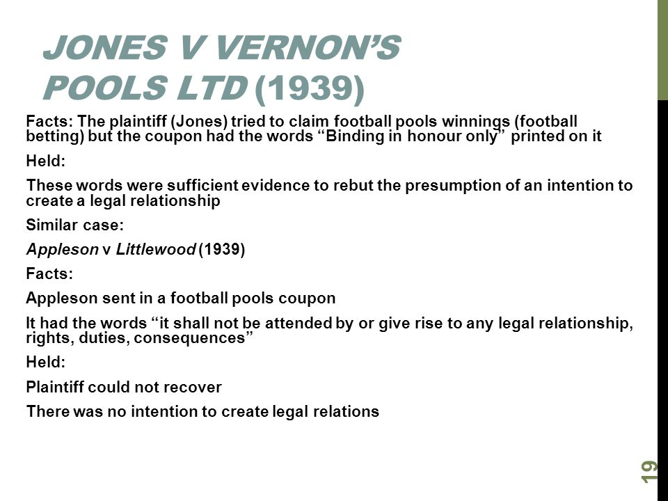 Jones v Vernon's Pools Ltd (1939)