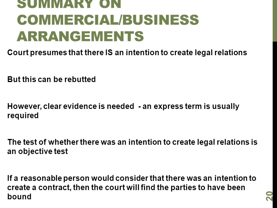 Summary on commercial/business arrangements