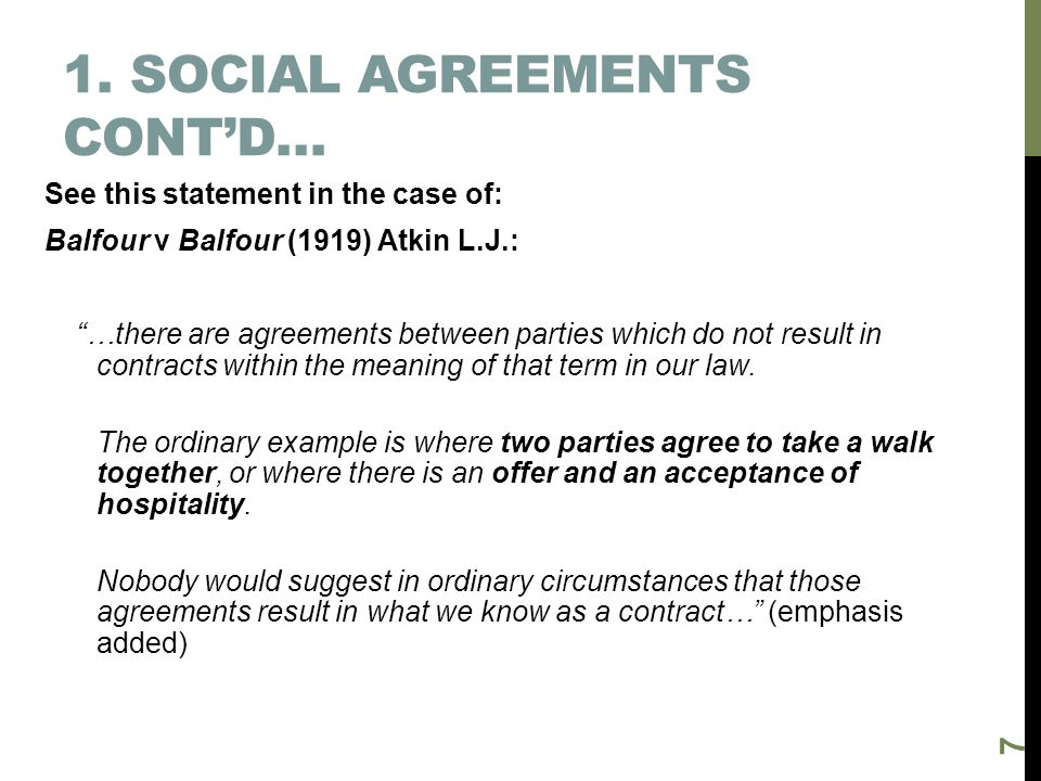 1. Social agreements cont'd…