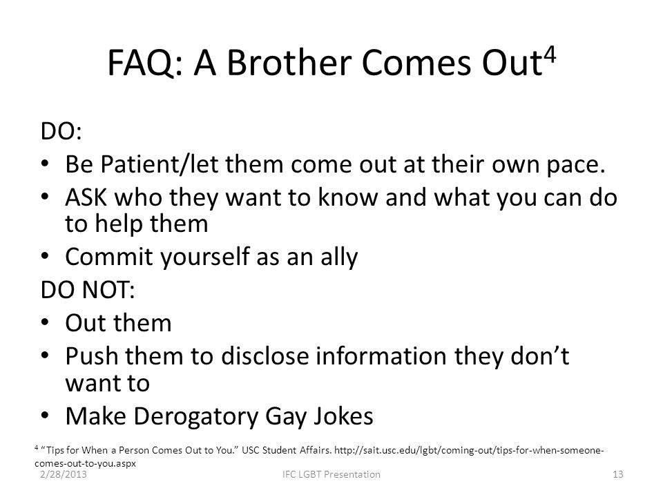 FAQ: A Brother Comes Out4