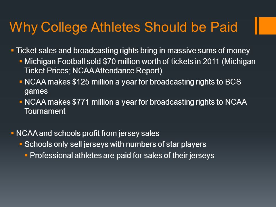 why d1 athletes should be paid Should college athletes be allowed to unionize college sports produce billions of dollars in revenue, but none of it is shared directly with the athletes two lawyers, marc edelman and zev j eigen, debate what should be done about that.