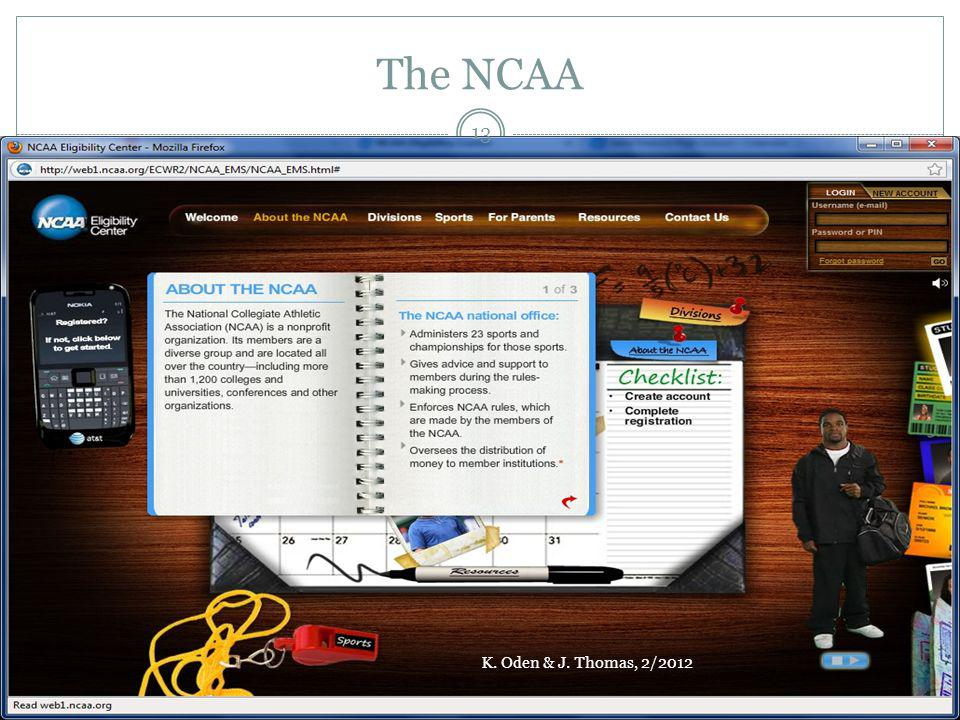 The NCAA K. Oden & J. Thomas, 2/2012