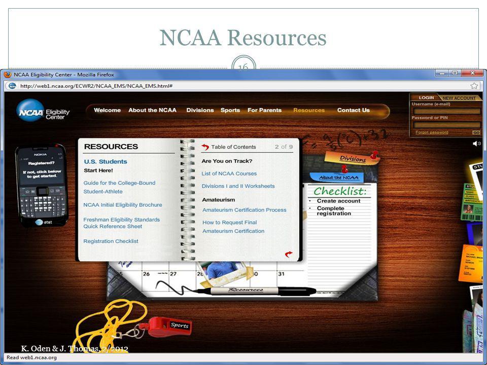 NCAA Resources K. Oden & J. Thomas, 2/2012