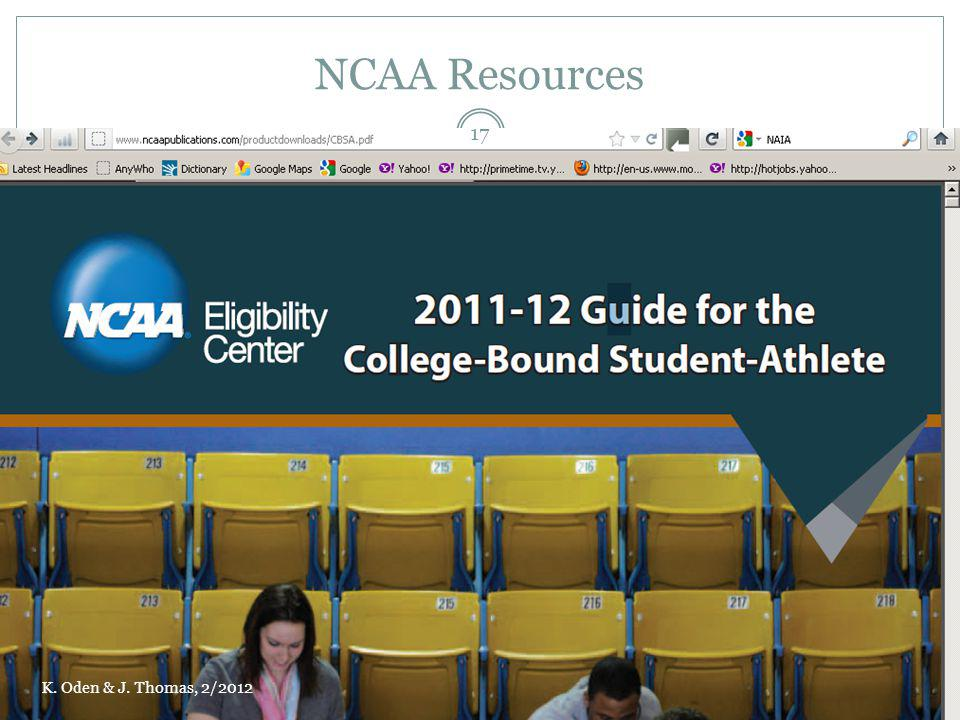 NCAA Resources K. Oden & J. Thomas, 2/2012