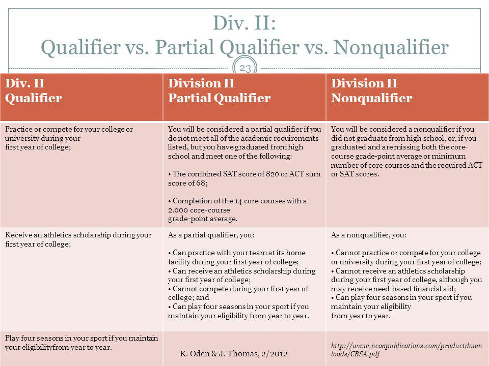 Div. II: Qualifier vs. Partial Qualifier vs. Nonqualifier