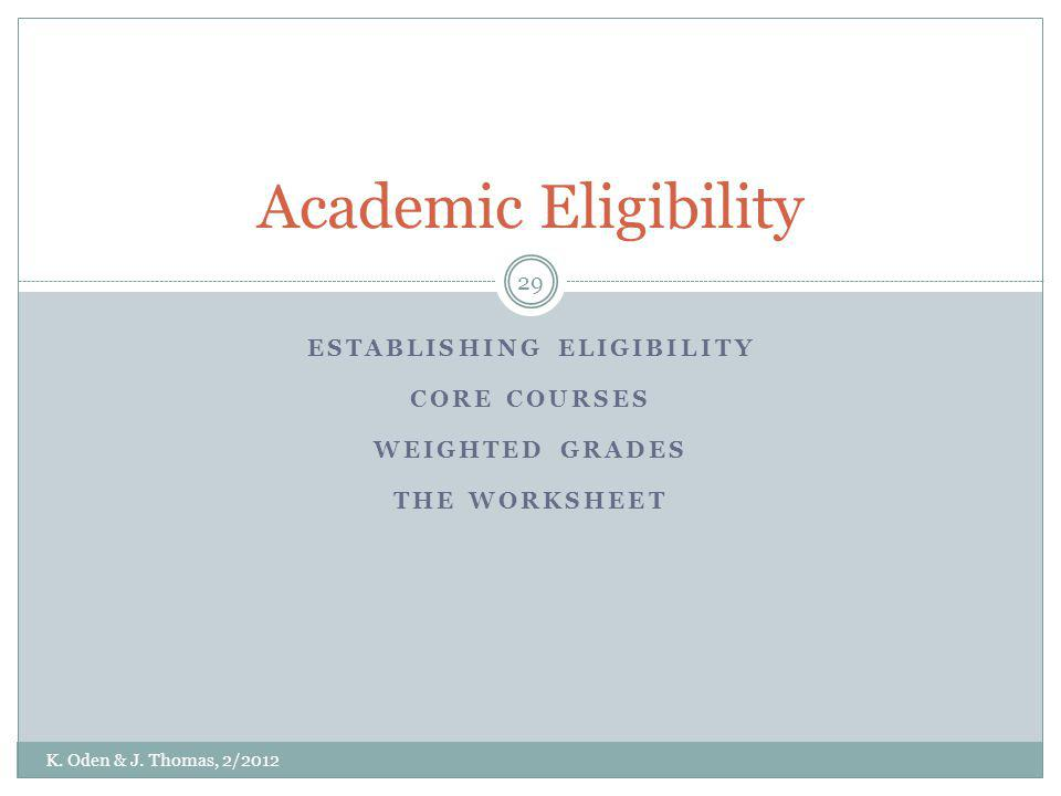 Establishing eligibility core courses weighted grades the worksheet