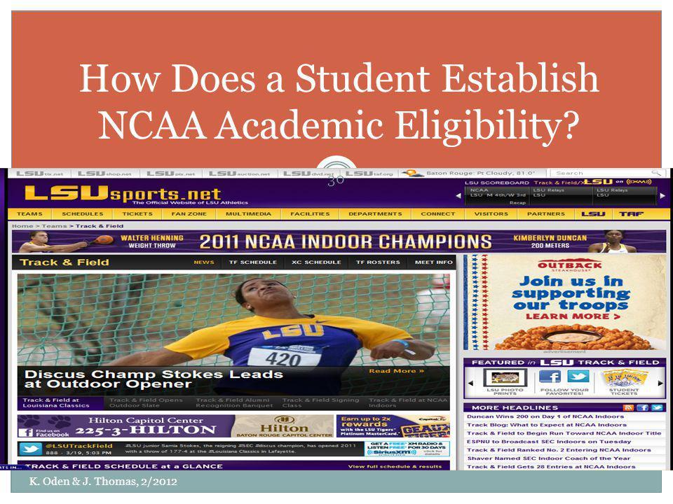 How Does a Student Establish NCAA Academic Eligibility
