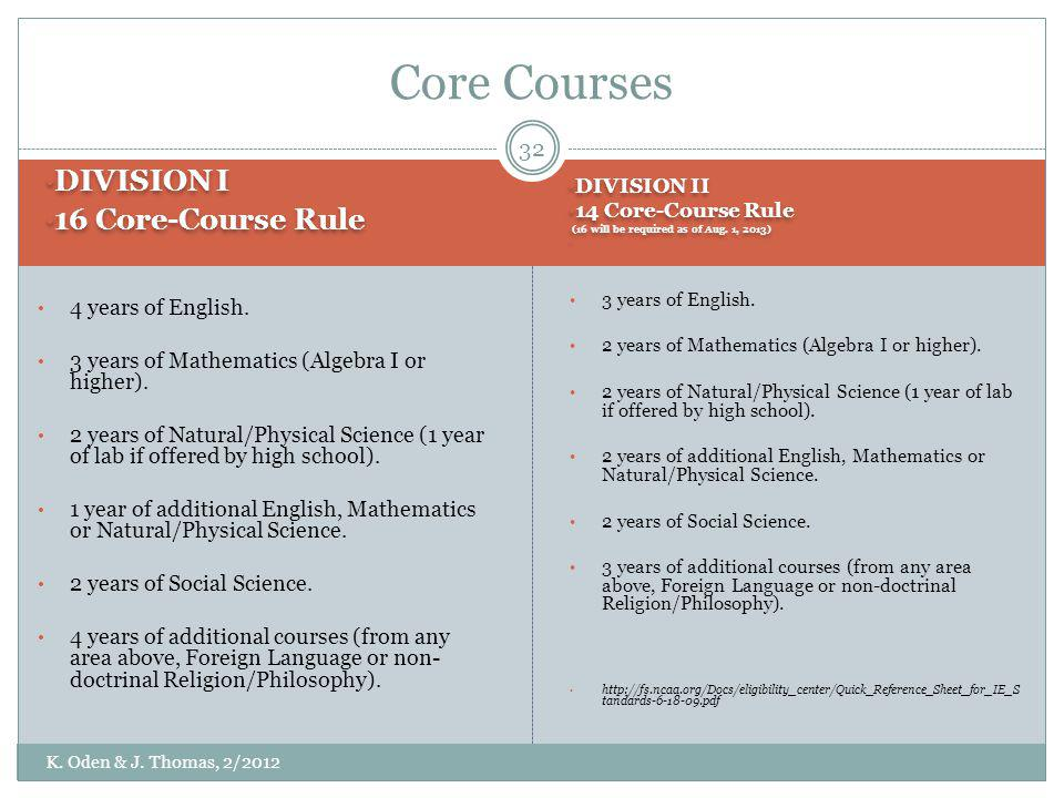 Core Courses DIVISION I 16 Core-Course Rule 4 years of English.