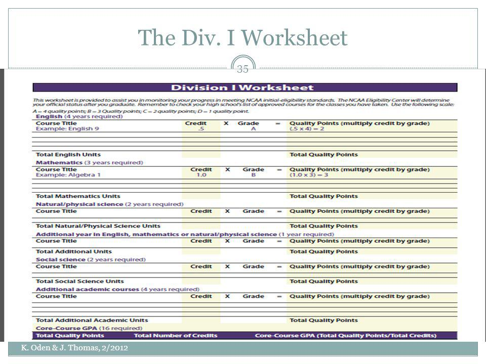 The Div. I Worksheet K. Oden & J. Thomas, 2/2012