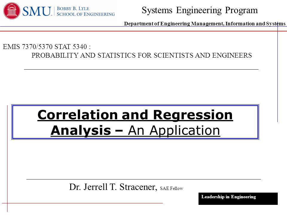 Correlation and Regression Analysis – An Application