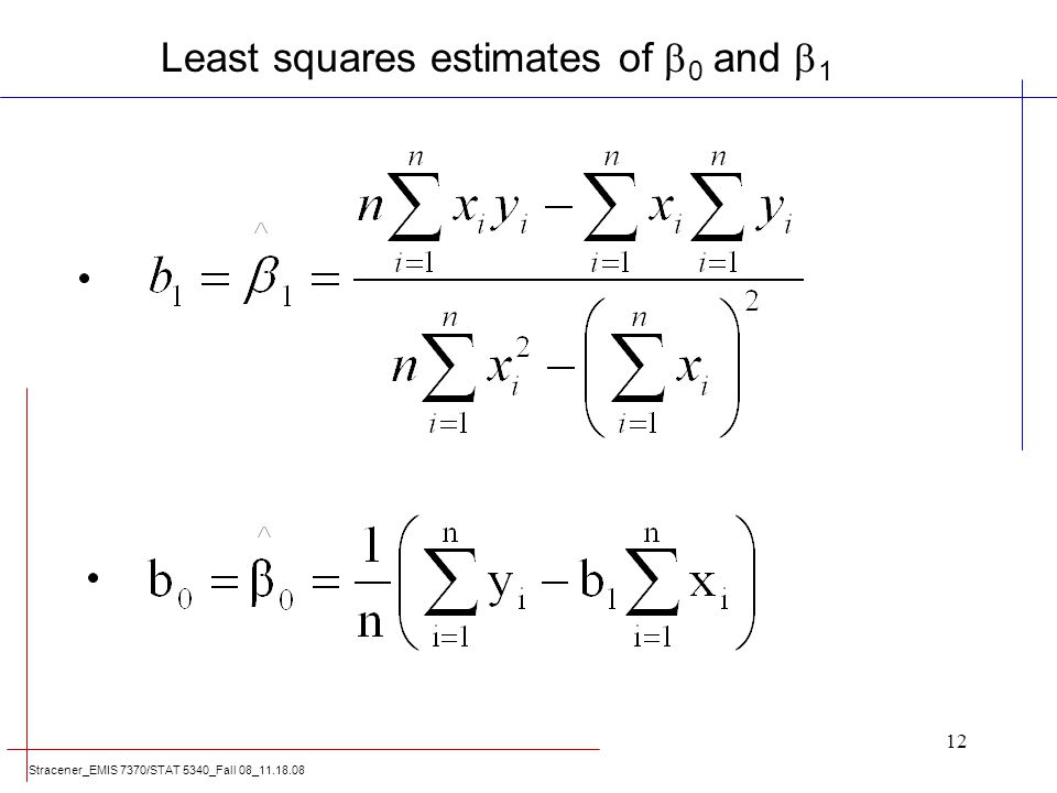Least squares estimates of 0 and 1