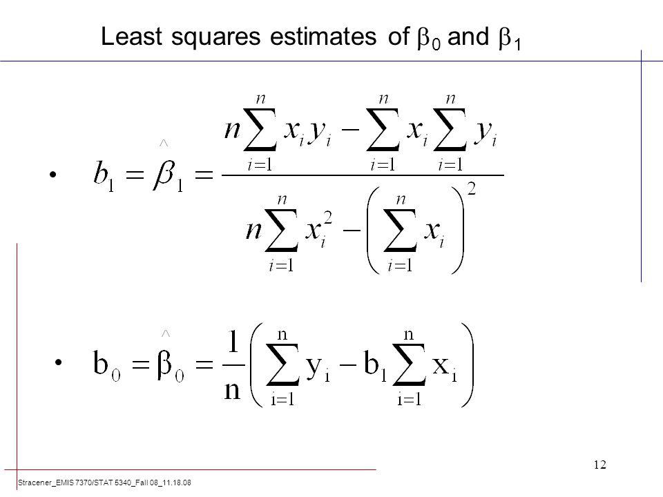 Least squares estimates of 0 and 1