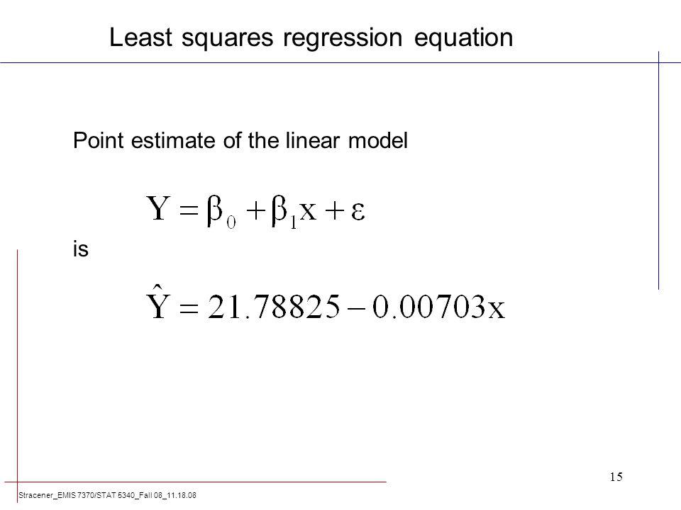 Least squares regression equation