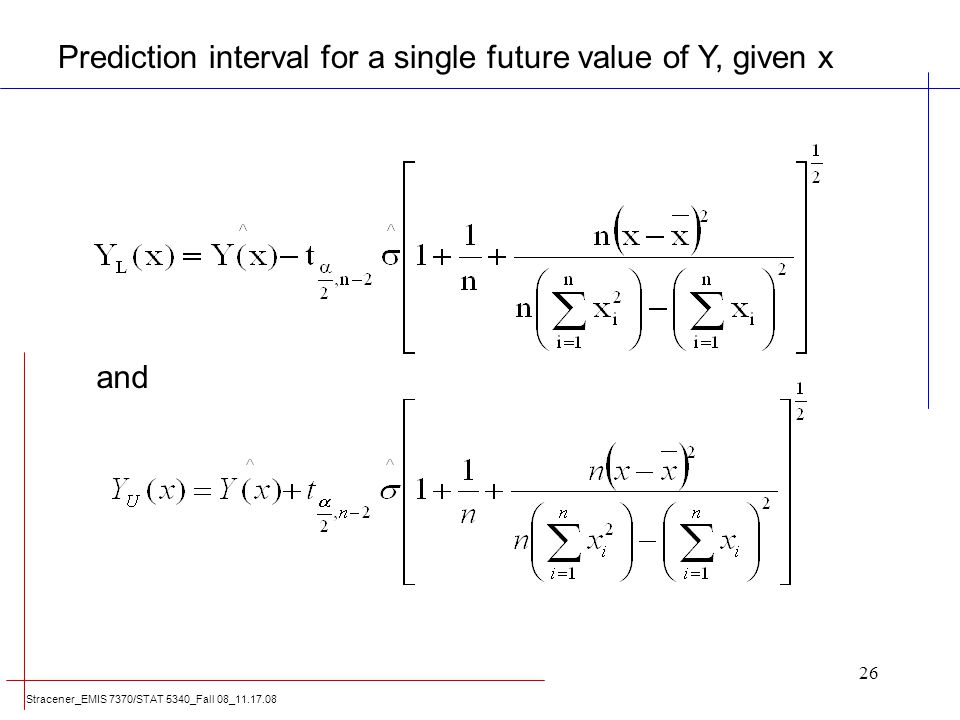 Prediction interval for a single future value of Y, given x