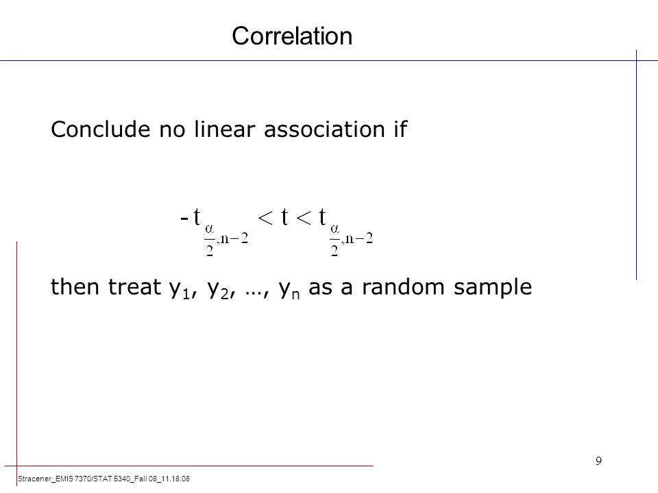 Correlation Conclude no linear association if