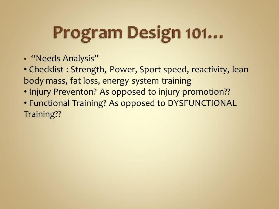 Program Design 101… Needs Analysis Checklist : Strength, Power, Sport-speed, reactivity, lean body mass, fat loss, energy system training.