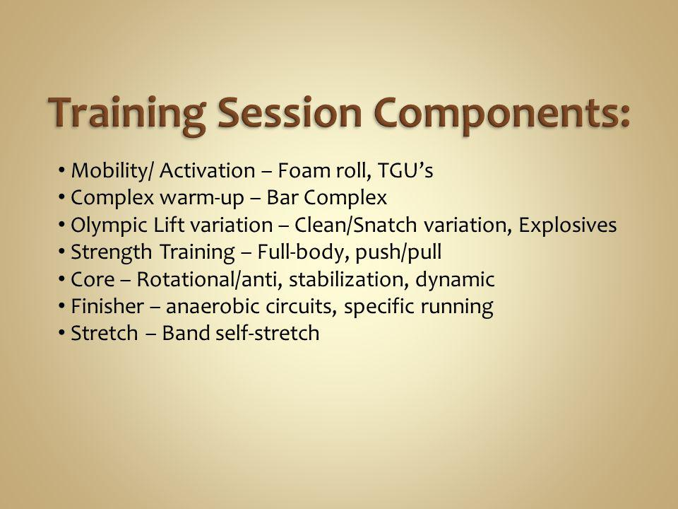 Training Session Components: