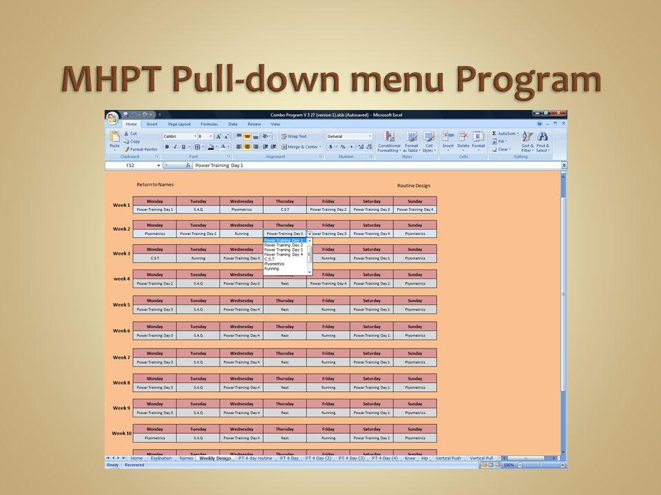 MHPT Pull-down menu Program