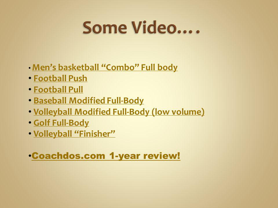 Some Video…. Football Push Football Pull Baseball Modified Full-Body