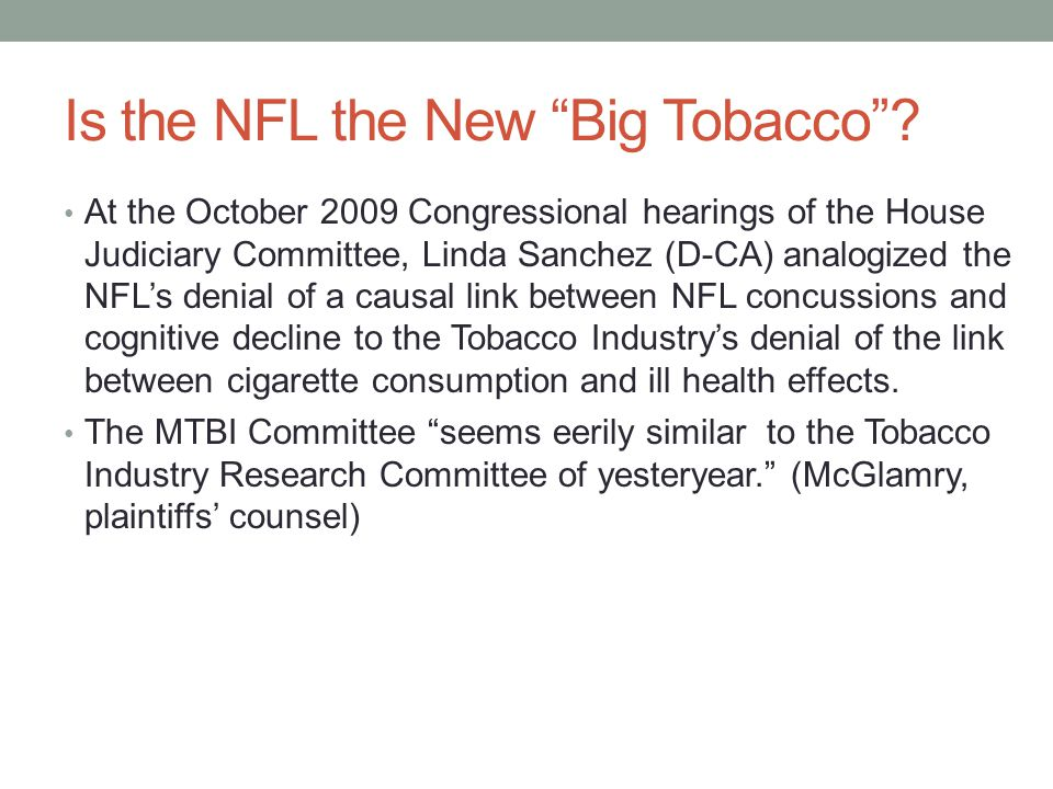 Is the NFL the New Big Tobacco