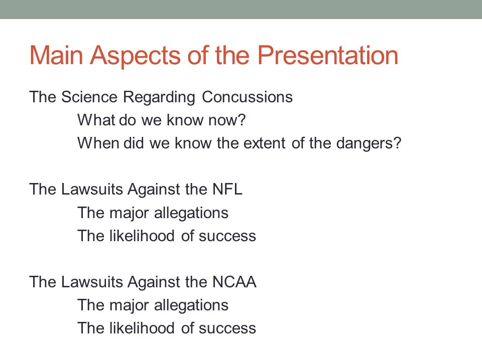 Main Aspects of the Presentation