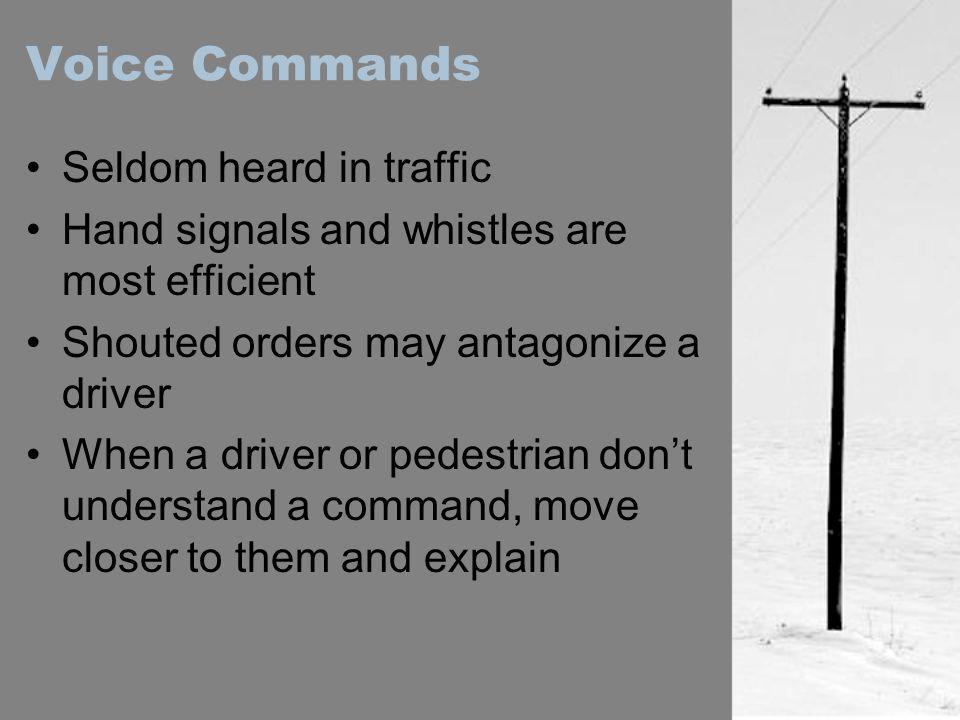 Voice Commands Seldom heard in traffic