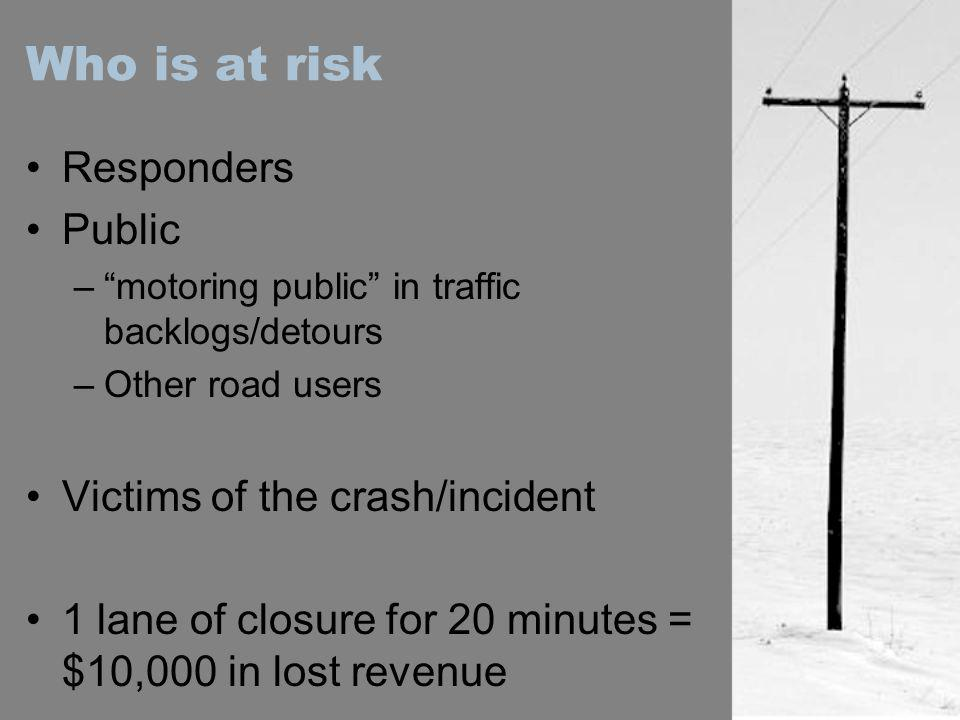 Who is at risk Responders Public Victims of the crash/incident