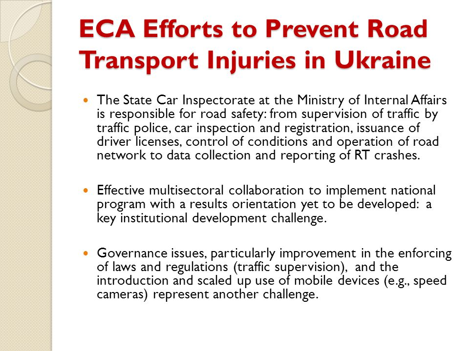 ECA Efforts to Prevent Road Transport Injuries in Ukraine