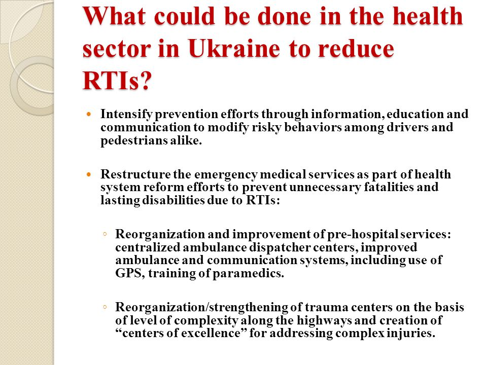 What could be done in the health sector in Ukraine to reduce RTIs