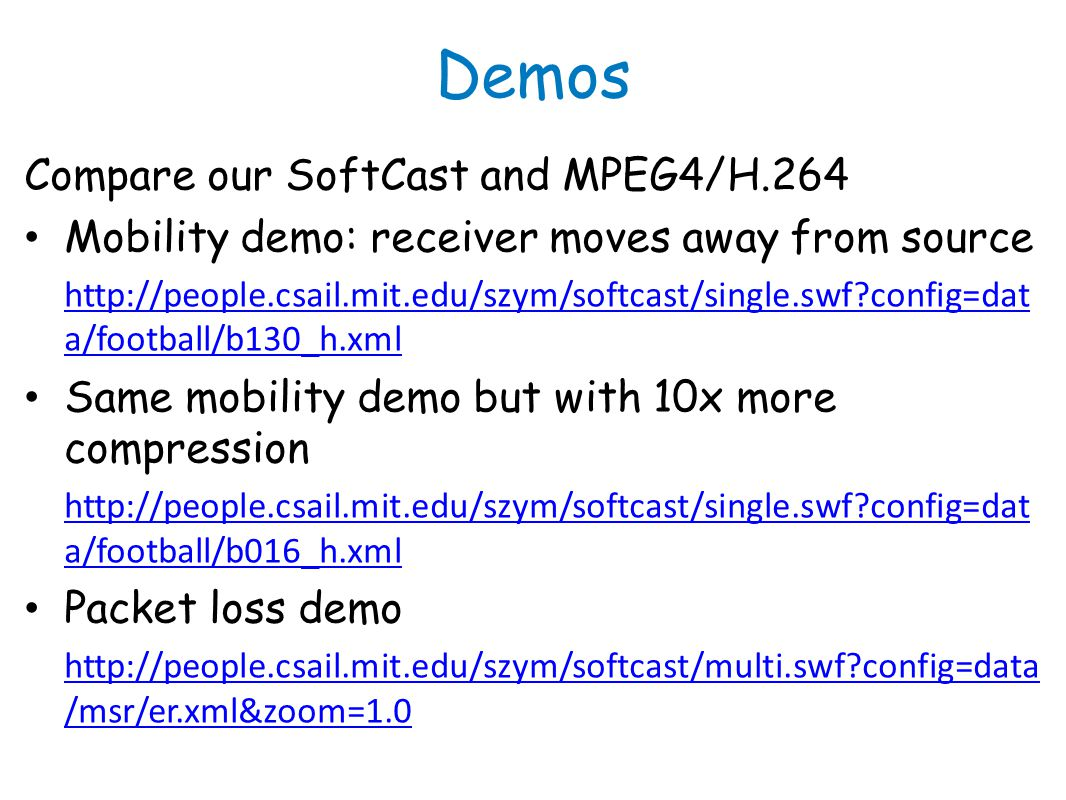 Demos Compare our SoftCast and MPEG4/H.264