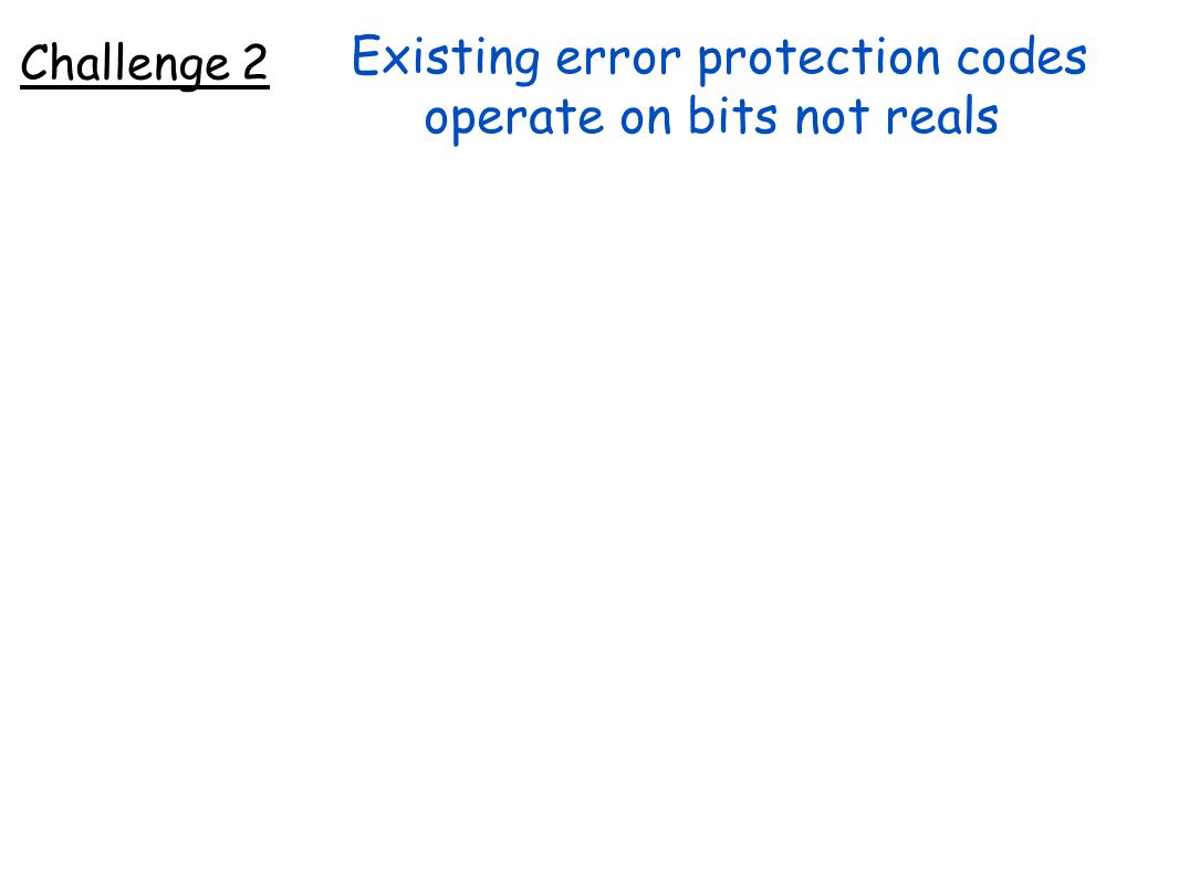 Existing error protection codes operate on bits not reals