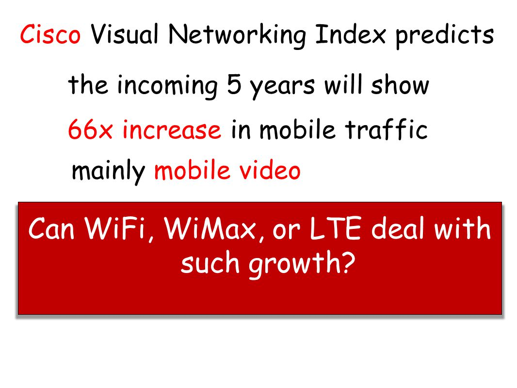 Can WiFi, WiMax, or LTE deal with such growth