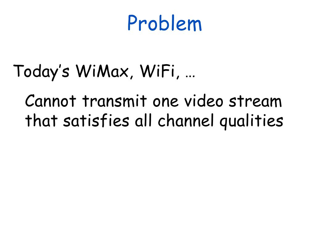 Problem Today's WiMax, WiFi, …