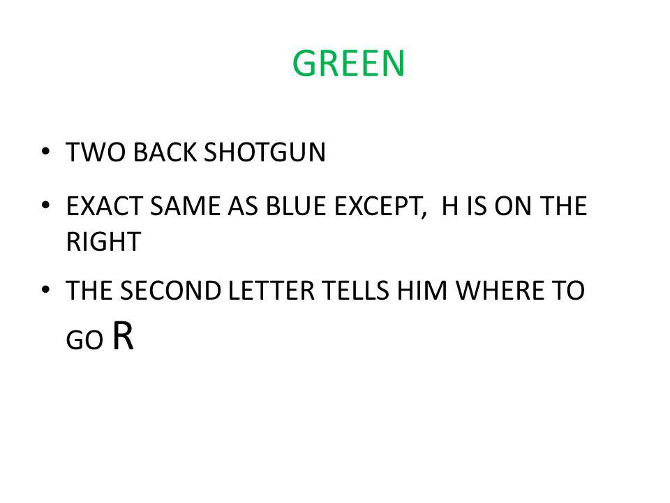 GREEN TWO BACK SHOTGUN EXACT SAME AS BLUE EXCEPT, H IS ON THE RIGHT