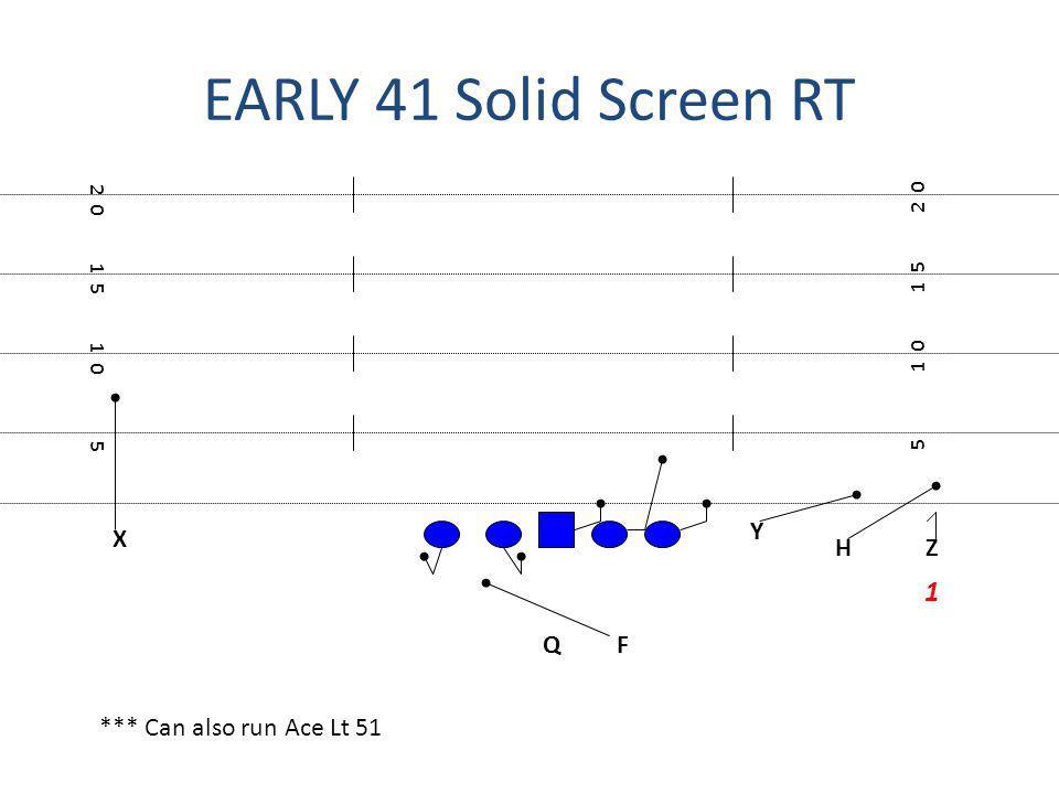 EARLY 41 Solid Screen RT 1 Y X H Z Q F *** Can also run Ace Lt 51 2 0