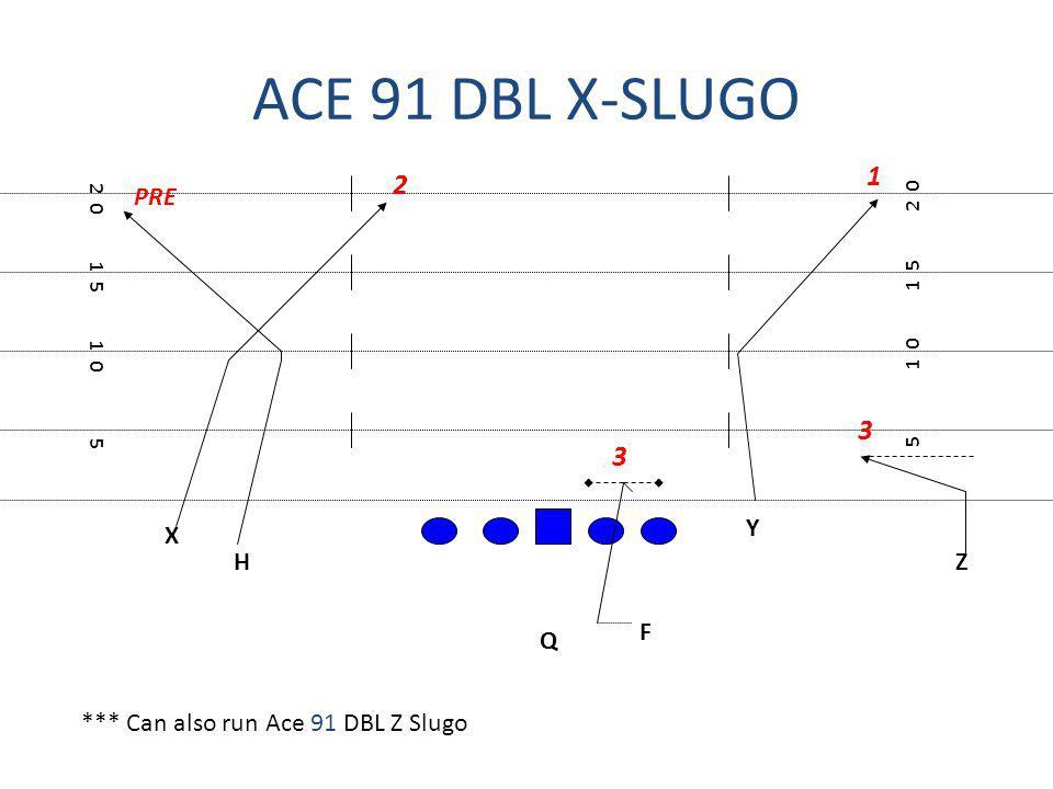ACE 91 DBL X-SLUGO 1 2 3 3 PRE Y X H Z F Q