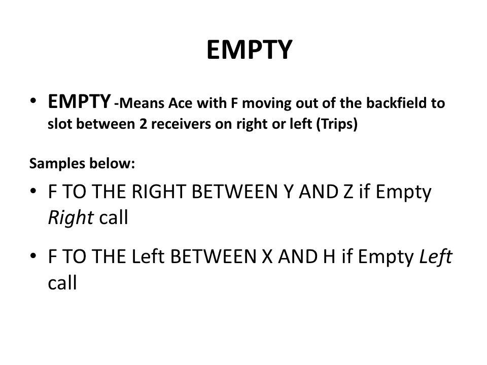 EMPTY EMPTY -Means Ace with F moving out of the backfield to slot between 2 receivers on right or left (Trips)