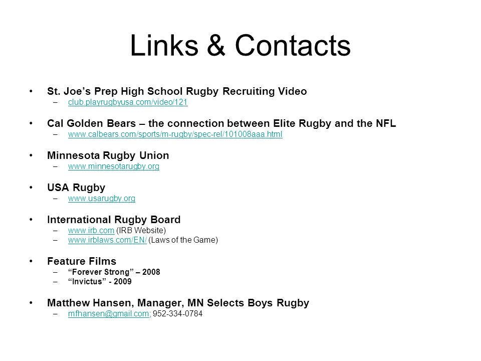 Links & Contacts St. Joe's Prep High School Rugby Recruiting Video