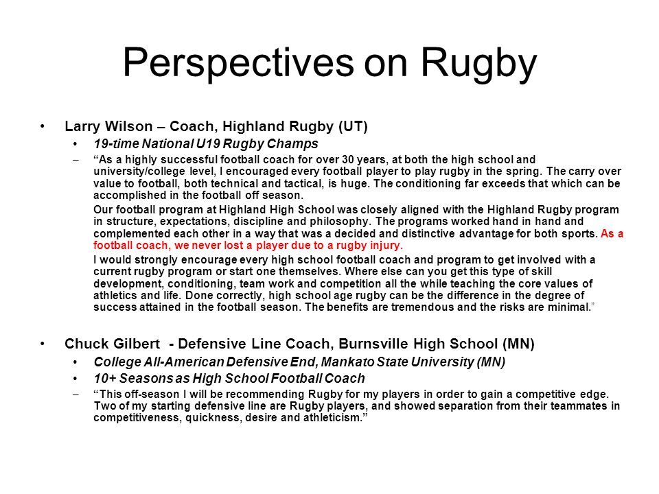 Perspectives on Rugby Larry Wilson – Coach, Highland Rugby (UT)