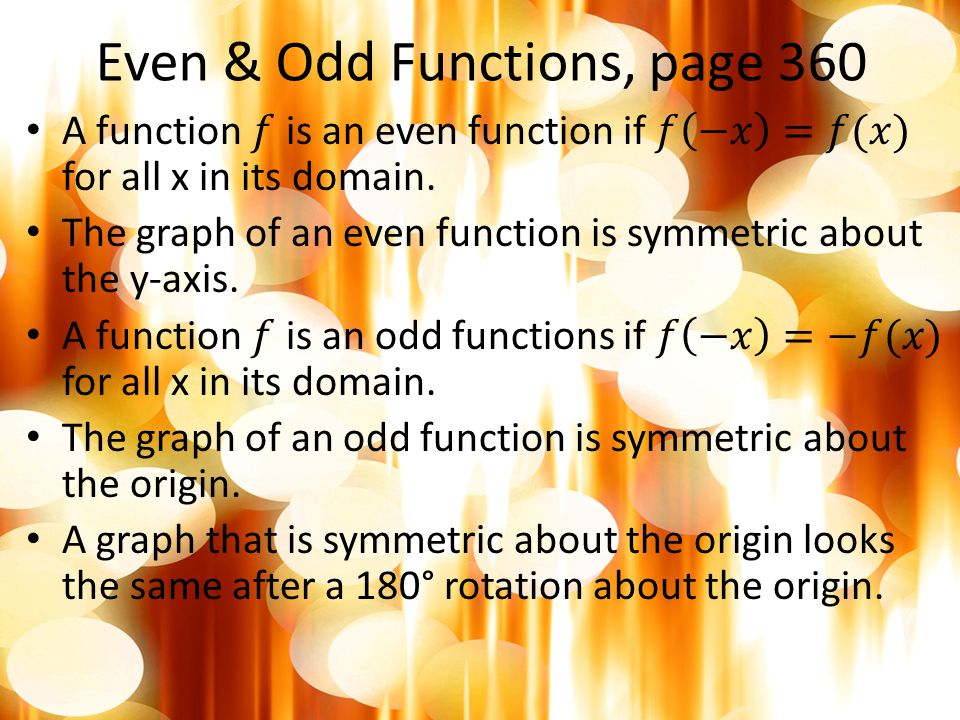 Even & Odd Functions, page 360